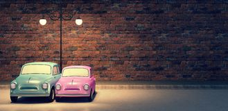 Les couples mignons de voiture à l'arrière-plan 3d de jour du ` s de valentine d'amour rendent Photo libre de droits