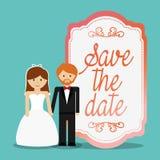 Les couples mignons sauvent l'invitation de date Photographie stock libre de droits