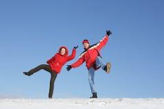 Les couples ont l'amusement en hiver Image libre de droits