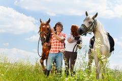 Les couples ont plaisir à marcher avec des chevaux dans le domaine d'été Images stock