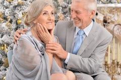 Les couples pluss âgé s'approchent de l'arbre de Noël Image stock