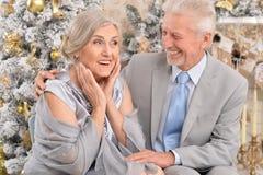 Les couples pluss âgé s'approchent de l'arbre de Noël Photographie stock libre de droits