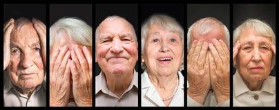 Les couples pluss âgé sur le fond noir Photo libre de droits