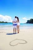 Les couples romantiques dans l'amour ont l'amusement sur la plage Photos libres de droits