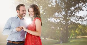 Les couples se sont engagés dans le parc avec la lumière et la fusée lumineuses images stock