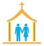 Les couples se sont mariés avec l'église illustration stock