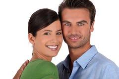 Les couples sont restés avec le contact de visages Photo stock