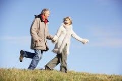 les couples stationnent la marche aînée Images stock