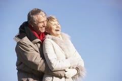 les couples stationnent la marche aînée Image stock