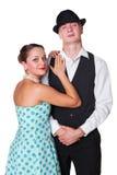 Les couples stylized dans le rétro type Photo libre de droits