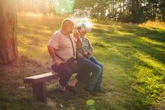 Les couples supérieurs appréciant une fumée enfoncent les bois Images stock