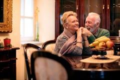 Les couples supérieurs de sourire heureux apprécient à la maison de repos Photographie stock