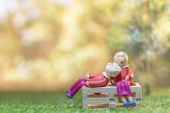 Les couples supérieurs de vieille poupée s'asseyent sur l'herbe verte pour enregistrer l'argent Image stock