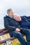 Les couples supérieurs heureux détendent ensemble en soleil photographie stock