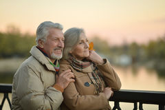 Les couples supérieurs heureux s'approchent de la rivière Images stock
