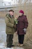 Les couples supérieurs le jour de valentines Photographie stock