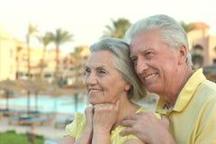 Les couples supérieurs s'approchent de la piscine Image stock