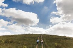 Les couples tenant des mains marchent loin Portrait d'un jeune homme et d'une femme romantiques dans l'amour en nature photo stock