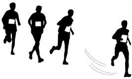 Les coureurs silhouettent sur le blanc Image libre de droits