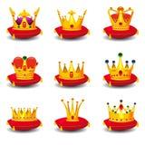 Les couronnes royales d'or réglées, sur l'oreiller cérémonieux rouge avec des illustrations de vecteur de bande dessinée de gland illustration stock