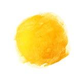 Les courses acryliques de brosse d'or avec la texture peignent des taches d'isolement, peint à la main Images stock