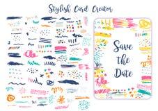 Les courses artistiques grunges de brosse réglées pour les cartes créatives de conception de création, font gagner la date, carte Photos stock