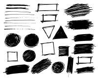 Les courses de brosse ont placé les objets d'isolement peints par vecteur illustration stock