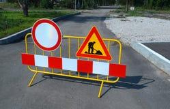 Les courses sur route signent pour des travaux de construction de Sofia, Bulgarie, septembre 18, 2014 Photographie stock