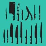 Les couteaux de cuisine réglés de vecteur, ombragent le noir Image stock