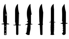 Les couteaux silhouettent l'ensemble Image stock