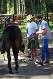 Les cowboys décontractés selle un cheval photo libre de droits