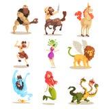 Les créatures mythiques antiques ont placé, des cyclopes, centaure, licorne, le faune de satyre, méduse Gorgon, dragon dirigé par illustration de vecteur