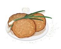 Les crêpes, le blini ou les crêpes ont servi du plat avec l'oignon blanc ou l'oignon vert et la sauce d'isolement sur le fond bla illustration stock