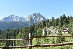 Les crêtes de montagne de Durmitor et la montagne dénomment la maison au bord de la forêt photos libres de droits
