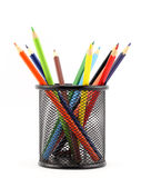 Les crayons colorés peuvent dedans Photographie stock