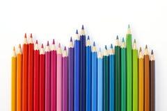 Les crayons colorent sur le fond blanc Photographie stock