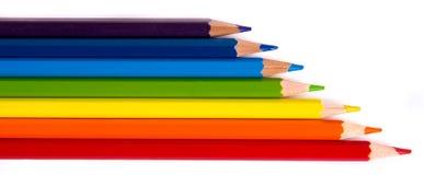 Les crayons multicolores ont placé d'isolement sur un fond blanc Photos libres de droits