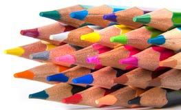 Les crayons multicolores ont placé d'isolement sur un fond blanc Images stock
