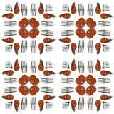 Les crevettes et les fourchettes grillées ajustent le modèle sans couture carrelé de photo photos stock