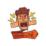 Les cris d'homme, le mot de date-butoir, le délai, l'effort et le burn-out frustrants signent l'illustration de vecteur sur un fo Illustration Stock