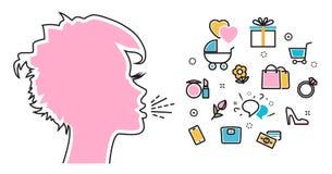 Les cris de femme et parlent de leur rêve préféré d'intérêts illustration libre de droits