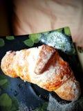 Les croissants ont fraîchement fait cuire au four dans le four dans une couleur vermeille gentille photos libres de droits
