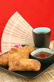 Les croquettes chinoises et le thé - copiez l'espace Image stock