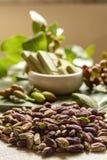 Les ?crous doux, sensibles et parfum?s, les pistaches de Bronte avec la couleur verte brillante, ingr?dient pour la cuisine itali images libres de droits