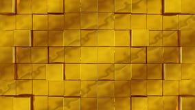 Les cubes d'or se réunissent sur le fond vert illustration de vecteur