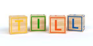 Les cubes en bois d'isolement en jouet avec des lettres avec le nom labourent Photos stock