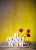 Les cubes en bois et sèchent les fleurs roses sur le nouveaux conseil en bois et toile de jute Photos stock