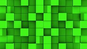 Les cubes verts se réunissent sur le fond bleu illustration libre de droits