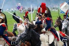 Les Cuirassiers chez Borodino luttent la reconstitution historique en Russie Photos stock
