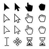 Les curseurs de Web de flèche, les indicateurs numériques de main dirigent les pictogrammes noirs illustration libre de droits